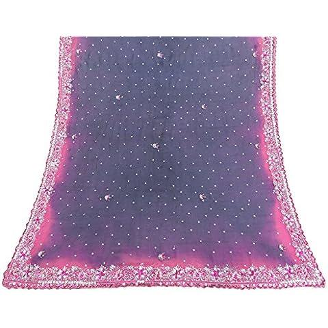 Vintage Dupatta sciarpa indiana pura seta chiffon ricamato Tessuto viola Veil