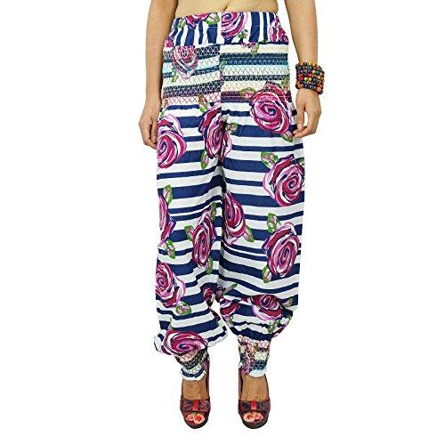 Casual Hippie Boho Harem Aladdin Yoga Femmes Harem Pantalons indiennes Blanc et bleu