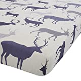TARTAN STAG NAVY BLUE 100% BRUSHED COTTON SINGLE FITTED SHEET #NAIPMARG