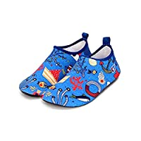 Bwiv Kids Beach Shoes Swim Non-Slip Soles Rubber Water Shoes Toddlers Quick Drying Soft Aqua Shoes Barefoot Breathable Aqua Socks for Boys Girls Pool Seaside Surfing 10.5-11.5 UK Blue 2
