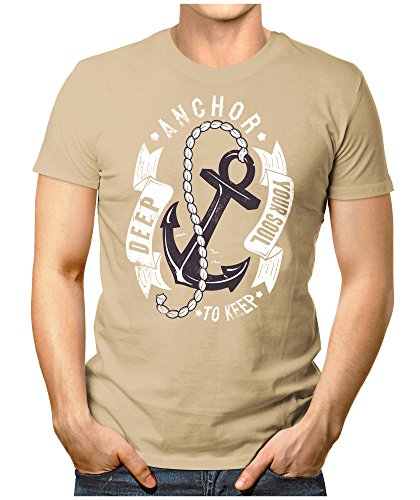 PRILANO Herren Fun T-Shirt - ANCHOR-TO-KEEP - Small bis 5XL - NEU Khaki