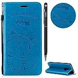 Galaxy S9 Hülle,Galaxy S9 Case Leder,WIWJ Prämie PU Klapphülle Leder Brieftasche[Impressum Cat Love Fish Handy Case]Flip Case Cover Schütz Hülle Handyhülle Schutzhülle für Samsung Galaxy S9-Blau