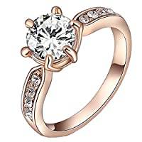 CLOCOLOR Women's Crystals Bling Golden Finger Rings Jewelry Gift Engagement Wedding Rings O