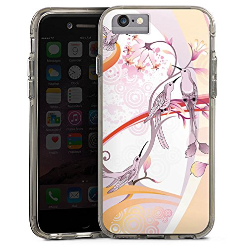 Apple iPhone 7 Bumper Hülle Bumper Case Glitzer Hülle Vogel Bird Kolibri Bumper Case transparent grau