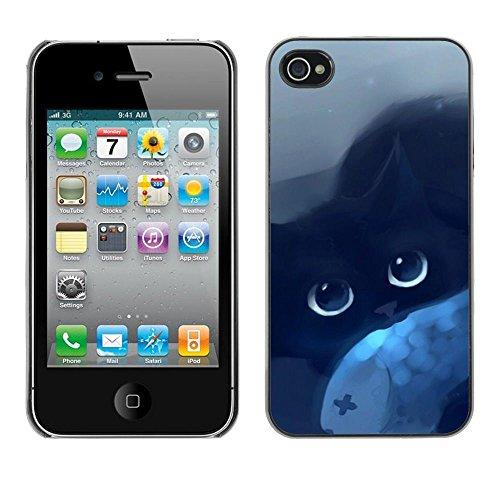 TopCaseStore / caoutchouc Hard Case Housse de protection la Peau - Cat Blue Eyes Black Night Drawing Mysticism - Apple iPhone 4 / 4S