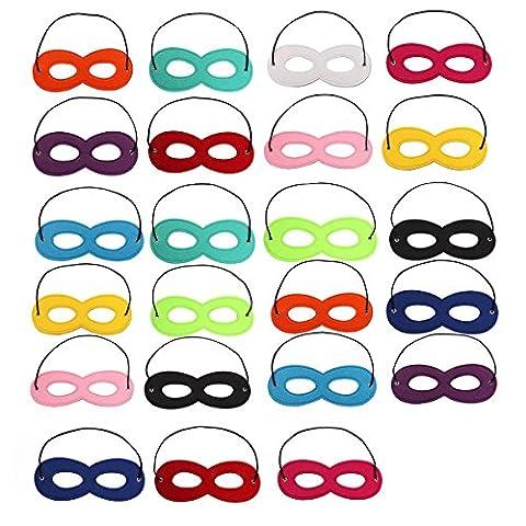 24 Colours Superhero Masks Eye Masks Felt Cosplay Masks Half Masks Party Masks with Elastic Rope for Halloween, Christmas, Masquerade Party