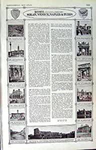 PANTHÉON DE ROME VENISE TURIN MILAN DE PLAN DE LA CARTE 1922 DE L'ITALIE
