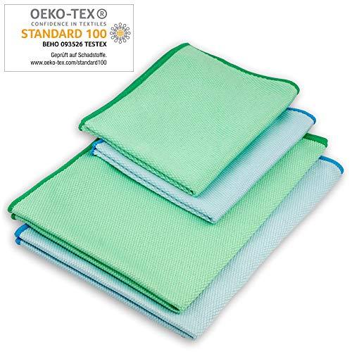 ELEXACLEAN Fenstertuch streifenfrei, Mikrofaser Scheibentuch (4 Stück, 60x40 cm & 40x30 cm) OEKO-TEX® STANDARD 100 - Glas Putztücher