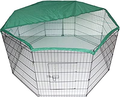 Bunny / Rabbit / Guinea Pig / Dog / Puppy / Cat / Playpen Pen Enclosure Run Cage with Net Cover, 55-inch