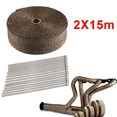 MultiWare 2 * 15m Hitzeschutzband Titan Basaltfaser Auspuffband mit Kabelbinder Thermoband Hitzebeständig Auspuff Band 50mm 1400°C +