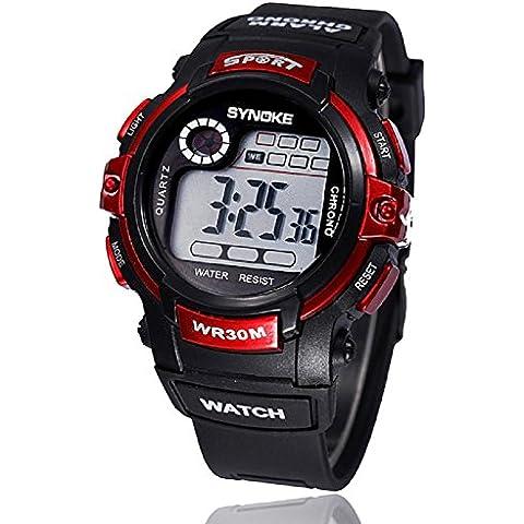FEITONG ragazzo multifunzione al quarzo digitale led allarme data sport impermeabile da polso watch/42.72mm*15.36mm (Rosso)