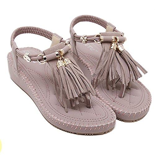Minetom Donne Estate Sandali Coreano Sandali Della Focaccina Con Nappe Moda Scarpe Fashion Sandal Viola
