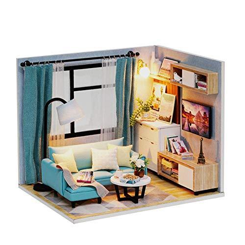 Dollhouse Kit realistische Mini 3D rosa Holzhaus Zimmer Spielzeug mit Möbeln LED leuchtet Weihnachten Kindertag Geburtstagsgeschenk mit Staubschutz ()