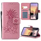 iAdvantec S9 Hülle, Filp PU Leder Case Wallet Handyhülle Flipcase : Bookstyle Ananas Tasche Schutzhülle für Samsung Galaxy S9 in Rosa