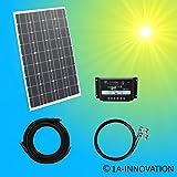 100W Solar Basis Set Solaranlage TÜV 100W Solarmodul Gartenhaus NEU Solar Garten Set Camping Wohnmobil Inselsystem mit Laderegler 12V