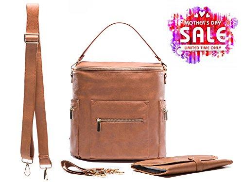 Preisvergleich Produktbild Miss Fong Leder-Wickeltaschen, Reiserucksack mit Wickelunterlage, Isolierungstasche und Kinderwagenhaken.