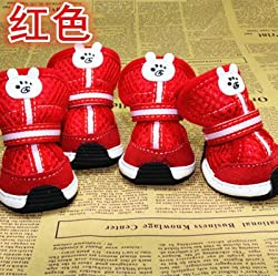 Red, 5 : canvas Pet dog shoes teddy vip bo shoes pet shoes breathable puppy boot Pet supplies product ZL266
