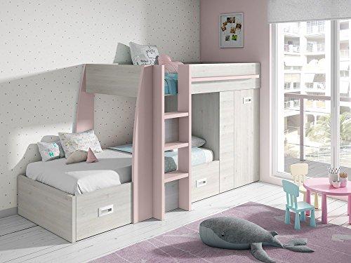 Liquidatodo®–letto a castello in stile moderno, 273 cm, colore bianco nordico e rosa nuvola