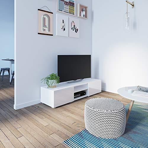 Symbiosis 3053A3419L02 Meuble TV avec 2 Niches/2 Tiroirs Bois Chêne/Naturel/Blanc/Laque 140 x 31 x 42 cm