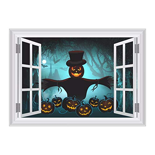 BZQTHXK 3D Fake Window Scared Bat Sky Pumpkin Scarecrow Forest Wall Stickers for Halloween Party Decoration Bar Club Wall Decals