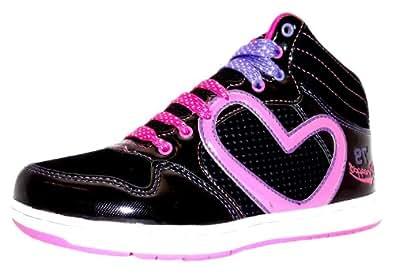 Size 3 Girl's Rollin Pineapple Black & Fuchsia Pink Heart Print Hi Top Dance Style Trainers
