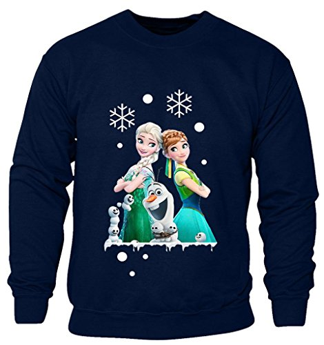New Kids Childrens Boys Girls Frozen Disney Queen Elsa Anna And Olaf Merry Ymas Christmas Sweatshirt Jumpers 2-14 years (Kids 3-4 Years) Navy