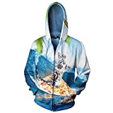3D-Zipper Hoodies Pizza Surfboard Cat 3D Print Fashion Kapuzenjacke Freizeit Oberbekleidung wie Bild 4 XL