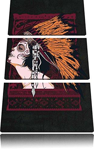 Indian girl black Bild 3-Teiler Leinwandbild 120x80 Bild auf Leinwand, XXL riesige Bilder fertig gerahmt mit Keilrahmen, Kunstdruck auf Wandbild mit Rahmen, gänstiger als Gemälde oder Ölbild, kein Poster oder Plakat Black Indian Girl