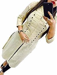 New Om Women's Cotton Stitched Kurti ( 901_White_X-Large)
