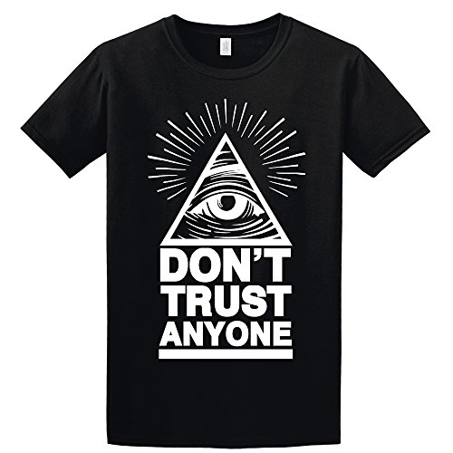Dont Shop (T-Shirt Illuminati Eye Don't Trust Anyone Dope Hipster Swag Unisex Cotton t-Shirt (Versch Farben und Grossen) (Medium, Schwarz))