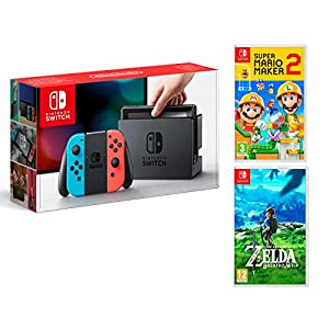 Nintendo Switch 32Gb Neon-Rot/Neon-Blau + Super Mario Maker 2 + The Legend of Zelda: Breath of the Wild
