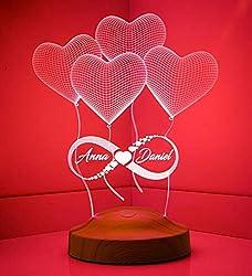 Valentinstag Geschenk Unendlichkeitszeichen mit Namen Liebe Liebesbeweise zur Hochzeit Verlobung Partner Freundin Nachttischlampe Wunschtext Schlummerlicht Schlafzimmer