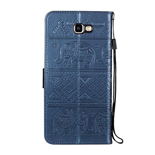 Für Samsung Galaxy J7 Prime Premium Leder Schutzhülle, weiche PU / TPU geprägte Textur Horizontale Flip Stand Case Cover mit Lanyard & Card Cash Holder ( Color : Red ) Blue