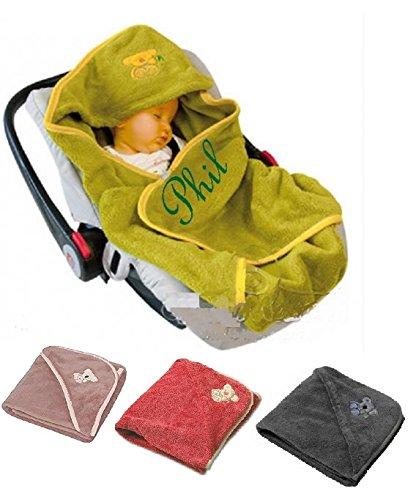 Baby Einschlagdecke mit Namen bestickt Babydecke Babytrage Autositz Kinderwagen Maxi Cosi (Autositz Kinderwagen Babytrage)