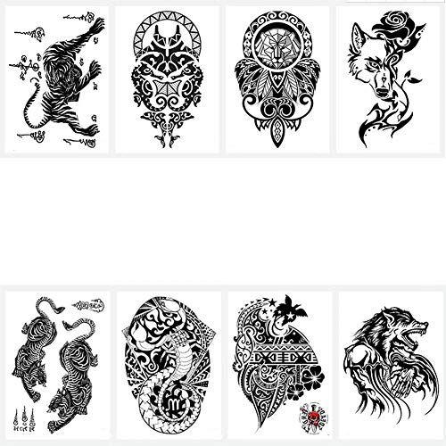 Temporäre Tätowierung Mann 8 StückeSticker Tiger Snake Charakter Papagei Schwarz Falsche Körper Aufkleber Arm Schulter Brust Rücken Make-Up (Halloween-kostüme Jungen Für Einfache Teen)