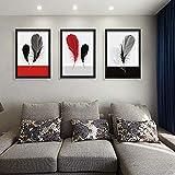 ZSHSCL Impresión En Lienzo Pintura 3 Piezas Europa Moderno Minimalista Negro Y Rojo Pluma Lienzos Pop Carteles Impresiones Arte De La Pared Imágenes Salón Decoración del Hogar, 40X60 Cm
