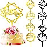 8 Piezas de Toppers de Tarta de Happy Birthday Topper de Magdalena de Acrílico Materiales de Fiesta para Favores de Pastel de Cumpleaños, Dorado y Negro