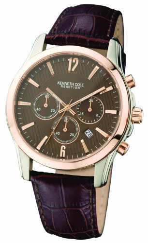 Kenneth Cole Stainless Steel Rose Gold Plated Mens Brown Chronograph Dial Brown Leather Strap Watch