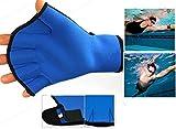 Fitness - Guantes de fitness y natación (Azul, M)