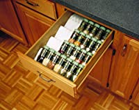 50 wide x 20 deep tray allows easy trimming for a perfect fit in any drawer;Holds up to 5 spice bottles (not included);Textured finish in almond