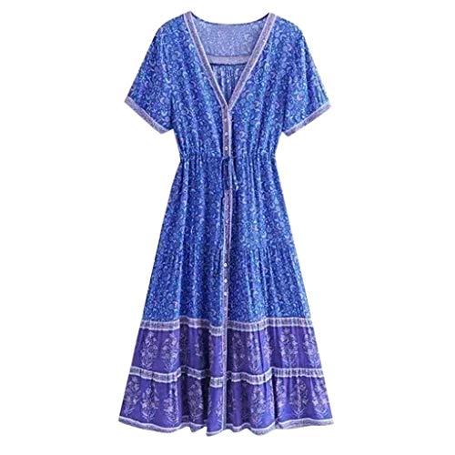 online retailer 4cf05 ac421 Abito a Manica Corta, JiaMeng Abito Lungo Stampa Bohémien Vestito da Donna  da Spiaggia per Le Feste da Sera Vestito Elegante Blu XXXXXL