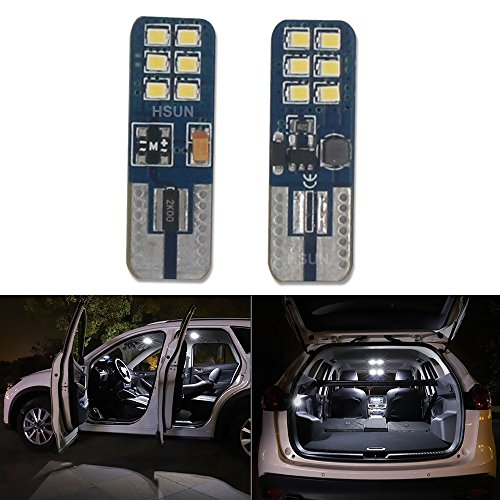 Hsun T1012SMD Super Bright Pure Blau 1941682825175W5W 158161192LED Birne für Auto/Motor Innen Dome Seite drehen Signal Armaturenbrett Kennzeichenbeleuchtung Leuchtmittel Lampe (2Stück) (Motor Dome)