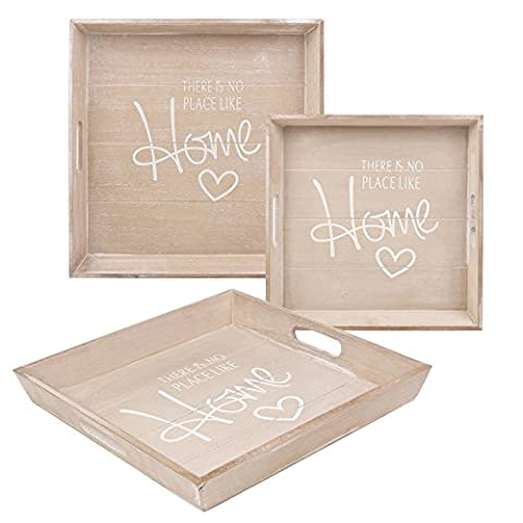 Shabby Chic Wooden Serving Tray - Set of 2