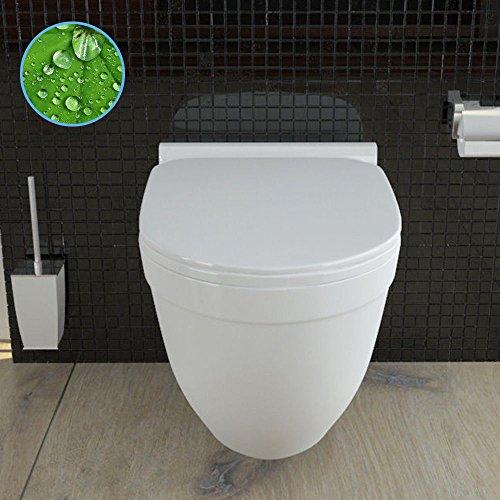 Wand Hänge WC mit WC-Sitz inkl. Soft-Close Weiss Keramik Toilette mit Nano-Beschichtung Tiefspüler passend zu GEBERIT - 5