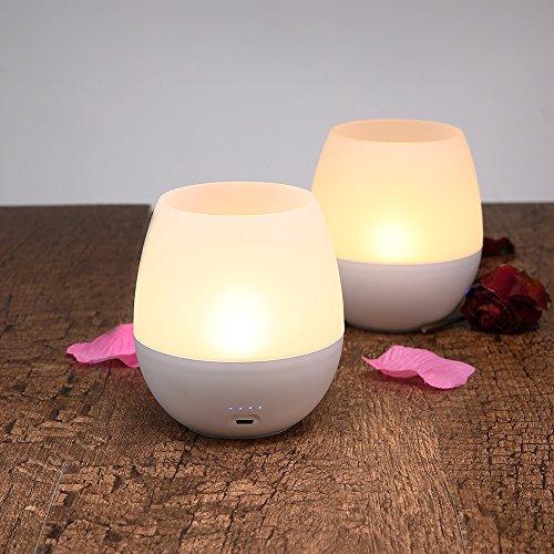 Umiwe Recargable Sin Llama Lámpara de Vela LED, Soplando Encendido / Apagado Control Dimmable Luz al Lado de Luz de Noche para la Cena de Camping Decoración