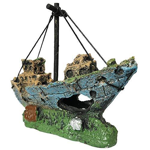 SLOME Aquarium Harz Boot Ornament - Aquarium Schiffbruch Dekorationen versunkene Schiff Ornament, Aquarium Ornament für Süßwasser Salzwasser-Tank