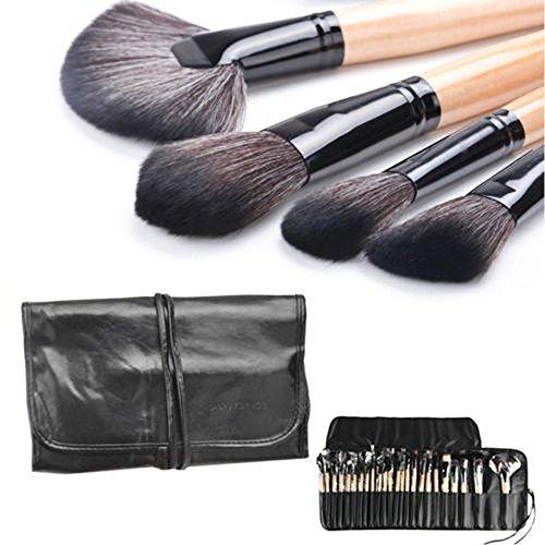 Danapp Lot de brosse de maquillage Manche en bois cosmétiques ventilateur Contour Blush Fard à paupières en bambou