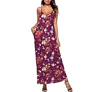Ai.Moichien Women Casual Floral Printed Loose Long Maxi Vintage Dress with Pockets Purple M