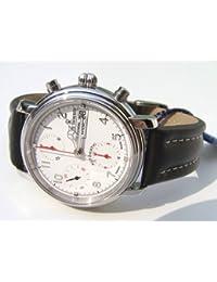 Revue Thommen Chronograph 1701 Day-Date/White 17071.6233 - Reloj automático con correa de piel negra