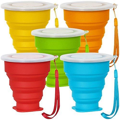 faltbecher silikon 5 Pack Faltbarer Reisebecher mit Deckel, 6Oz Silikon Faltbarer Trinkbecher, SENHAI BPA frei einziehbar zum Wandern Camping Picknick - Blau, Grün, Gelb, Orange, Rot